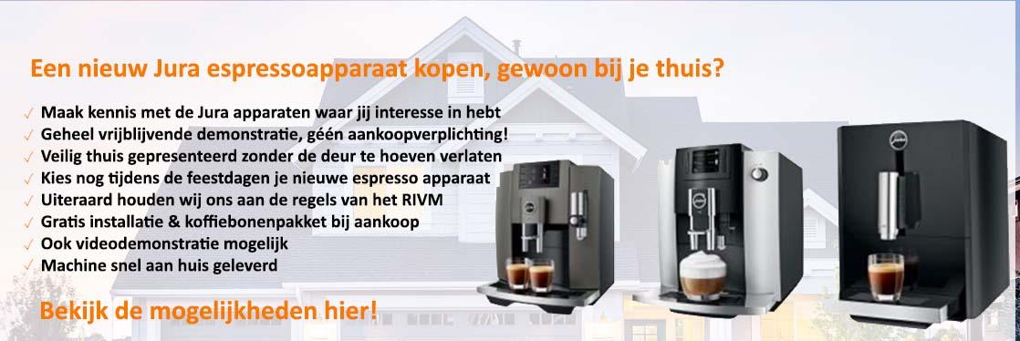 Jura espressomachines bij je thuis gedemonstreerd